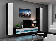 VIGO NEW IV Современная Гостиная стенка черный/белый глянец CAMA