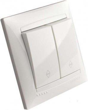 Виключатель 2-й проходной RIGHT HAUSEN VELENA белый HN-011181