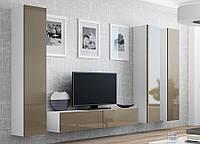 VIGO XIV Современная Гостиная стенка белый/латте глянец CAMA
