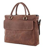 Мужская кожаная сумка SHVIGEL в коричневом цвете с отделом для ноутбука на 15 дюймов (12250)