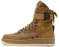 Мужские высокие кроссовки Nike Special Field Air Force 1 Brown (Найк Аир Форс) коричневые