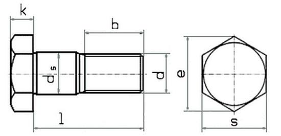 Схема с габаритными размерами болта DIN 609