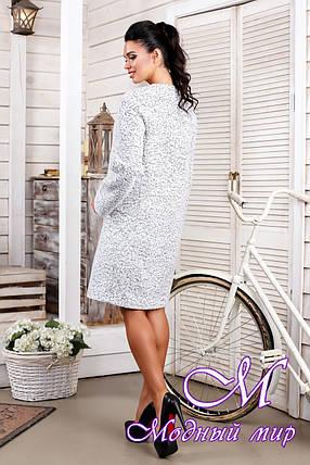 Женское белое демисезонное пальто из букле (р. 44-66) арт. 1018 Тон 15, фото 2