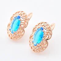 Серьги Благодать с родированием 54578 размер 16*11 мм, голубые камни, позолота РО