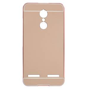 Чехол бампер для Lenovo K6 K33a48 металлический со съемной зеркальной крышкой, Золотисто-розовый
