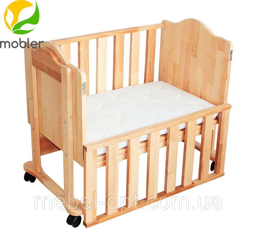 Приставная кроватка, кроватка для новорожденных приставная 84,5см х 52,5см х 73-88см