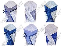 Летний конверт одеяло на выписку новорожденного (синие якоря)