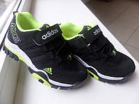Estyle-Adidas кросовки черные с салатовым