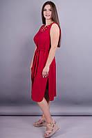 Сопрано. Элегантное платье на лето плюс сайз. Красный.