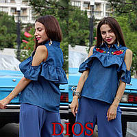 Женская блузка Джинсовая роза