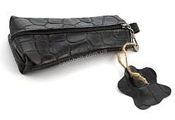Прочная кожаная мужская ключница на молнии под рептилию art. ключница кожа black (100681)