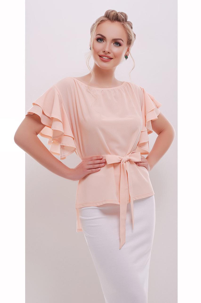 9eb3bb3218b Персиковая блузка с воланами на рукавах купить в интернет магазине ...