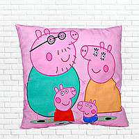 Детская подушка, Свинка Пеппа,родители,розовая
