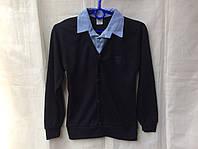 Школьная форма - обманка рубашка+джемпер для мальчика 6-12 лет,темно синяя