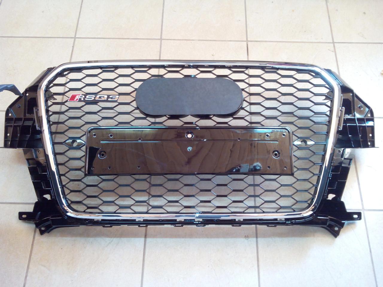 Решетка радиатора RSQ3 для Audi Q3 (черная+хром)