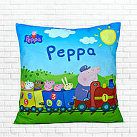 Детская подушка, Свинка Пеппа,паровоз,голубая