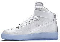 Мужские высокие кроссовки Nike Air Force High (Найк Аир Форс) белые/голубые
