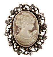 Брошь Vintage Style Камея коричневая ag3/ цвет коричневый, основа бронза