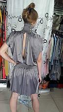 Жіноче плаття дизайнерське вечірню літню сіре атласс, фото 2