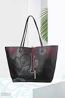 Двусторонняя кожаная сумка. Цвет черно-красный.