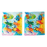 Заводная игрушка MY508BC (96шт) для купания,4шт,морские животные, от7,5см, 2вида, на листе,26-22-5см