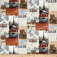 """Ткань для пэчворка и рукоделия американский хлопок """"Париж коллаж"""" - 24*55 см"""
