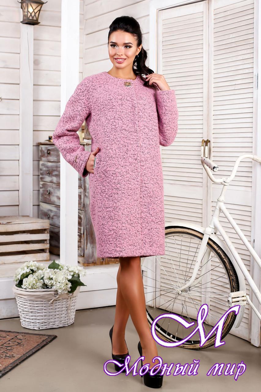 Женское розовое демисезонное пальто больших размеров (р. 44-62) арт. 1018 Тон 17