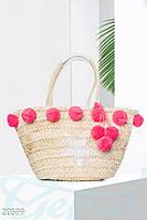 Пляжная сумка помпоны. Цвет бежево-малиновый.