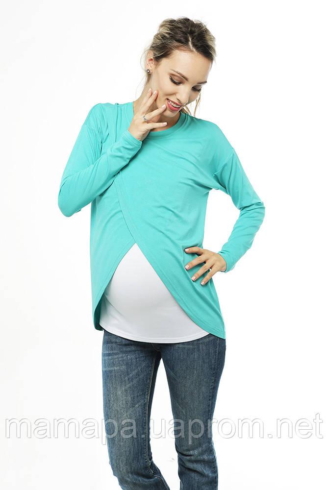 Лонгслив с запáхом для беременных и кормящих — Ментоловый бесплатная доставка новой почтой, фото 1