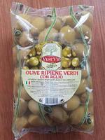 Оливки зелені (гігантські) фаршировані часником 500грм