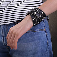 """Кожаный черный браслет """"Змейка"""" (черный)"""