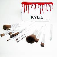 Набор кистей для макияжа KYLIE Professional Brash Set в металлическом кейсе (12шт.)