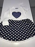 Платье детское в горошек с вышитым сердцем