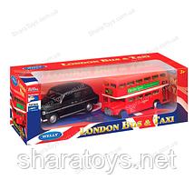 Набор лондонского транспорта Welly - ретро-такси и двухэтажный автобус