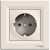 Розетка Schneider Asfora одинарная с заземлением скрытой проводки (кремовая)