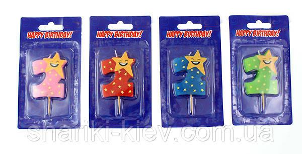 Свеча цифра в торт 2 звезда