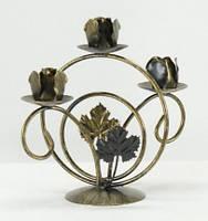 Кованый подсвечник 304 на 3 свечи черный/золото