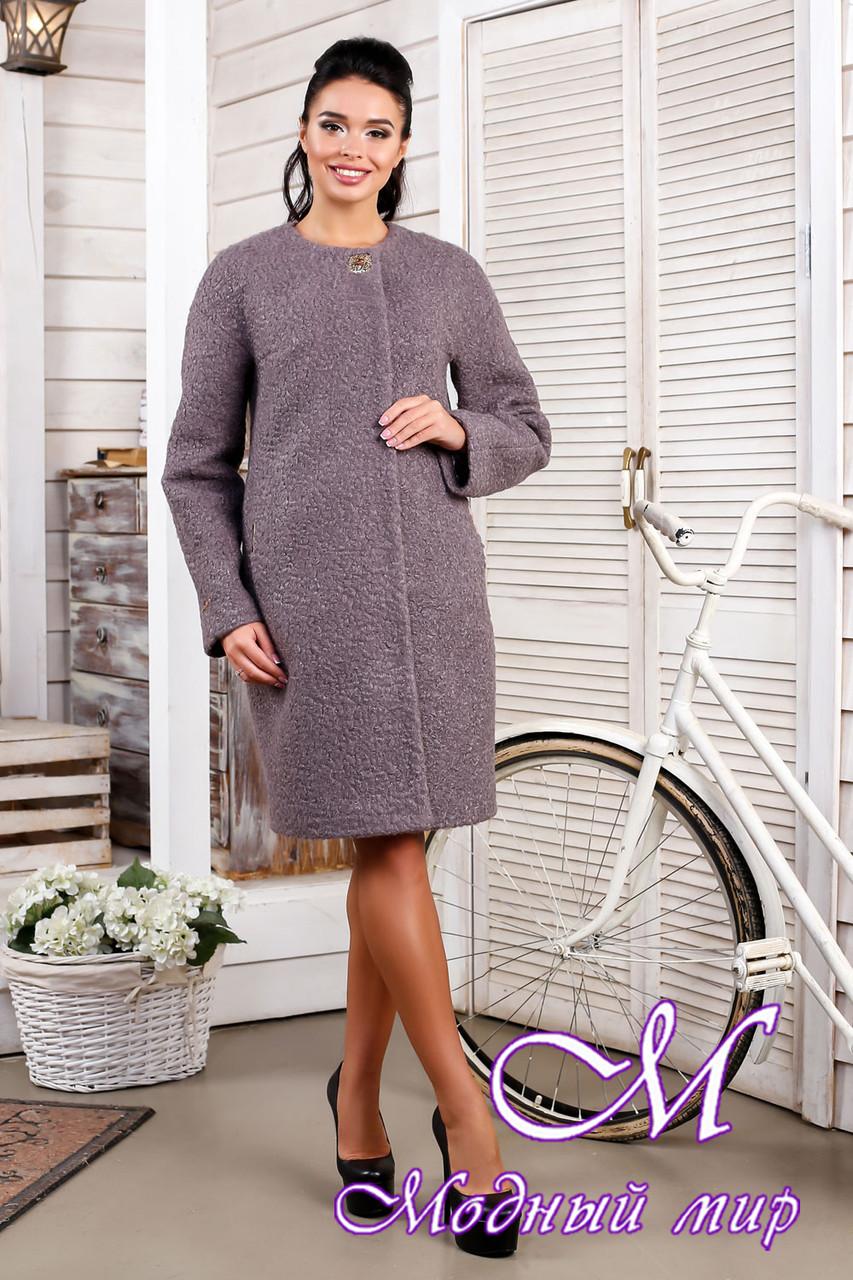 Женское качественное осеннее пальто большого размера (р. 44-62) арт. 1018 Тон 40