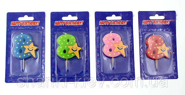Свеча цифра в торт 8 звезда, фото 2