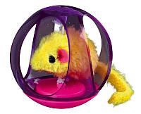 Игрушка Trixie Bobo Ball для кошек пластиковая, шарик с мышкой, 6 см, фото 1
