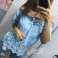 Женская летняя блуза с кружевом