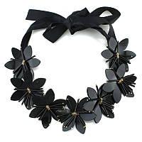 Колье чокер Цветы черное пластик