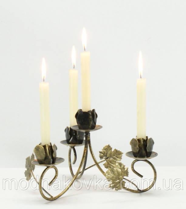 Кованый подсвечник на 4 свечи белый