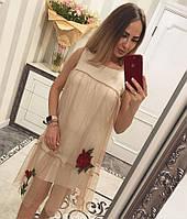 """Платье женское трикотажное молодежное """"Сетка роза"""", фото 1"""