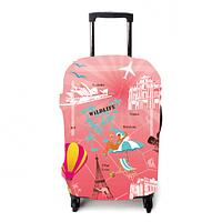 """Чехол для чемодана ТМ """"ЧехлоDan""""  Маленький, Evrope Pink"""