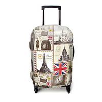 """Чехол для чемодана ТМ """"ЧехлоDan""""  Средний, Evrope Grey"""