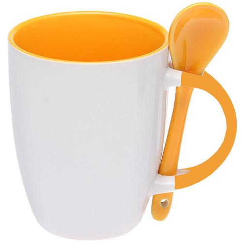 Кружка керамическая для сублимации, с ложкой, оранжевая