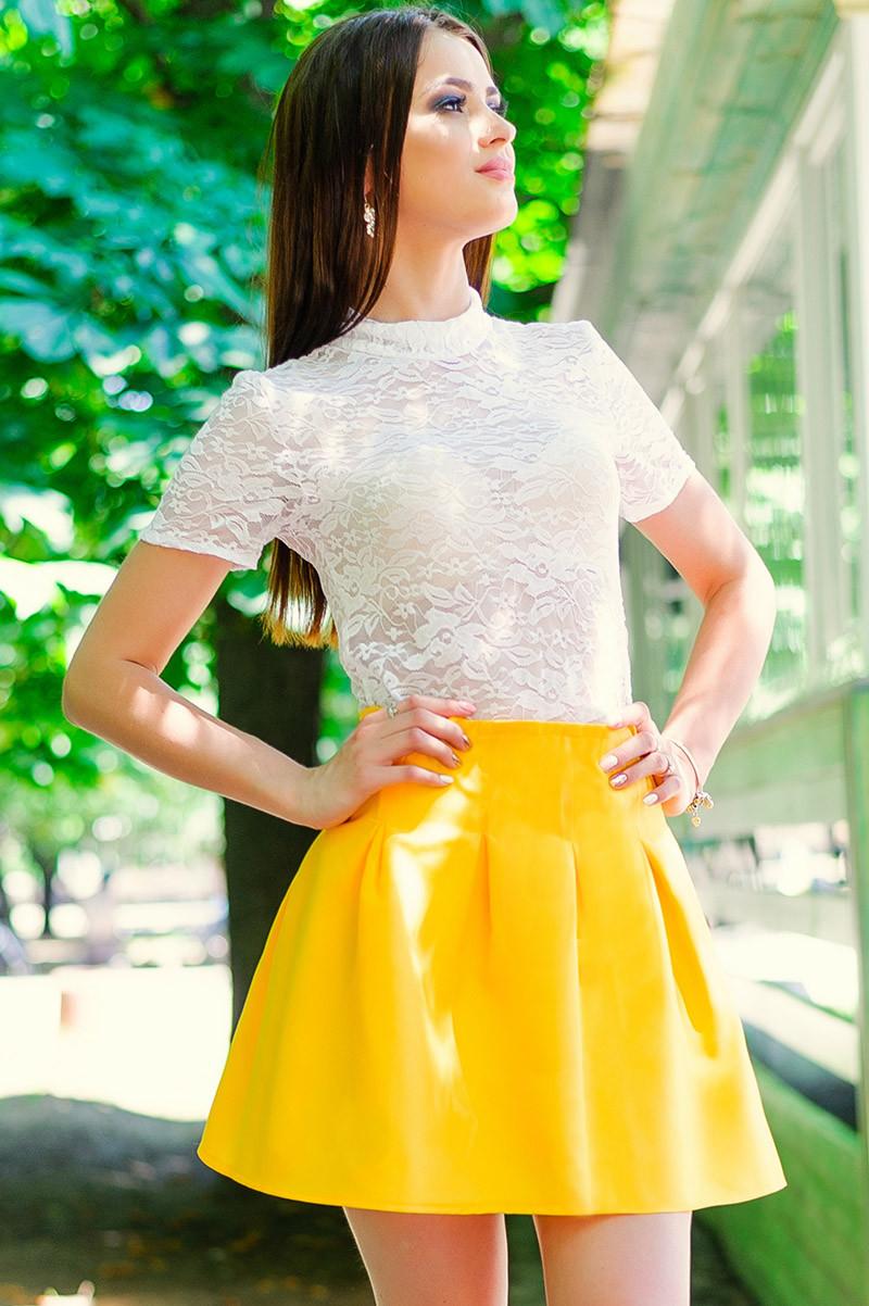 """Желтая летняя юбка """"Элит"""""""
