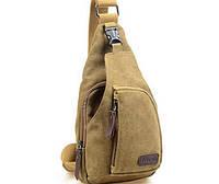 Чоловічий  рюкзак із тканини на одне плече. Пісочний