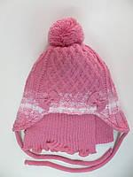 Шапка с шарфом на флисе для девочки 1-2 года